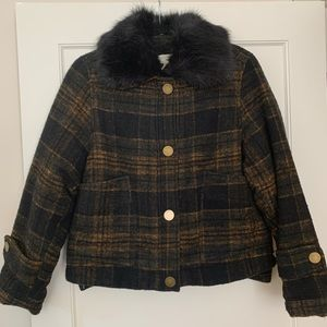 Plaid Shirt Jacket with Sherpa Lining & Fur Collar